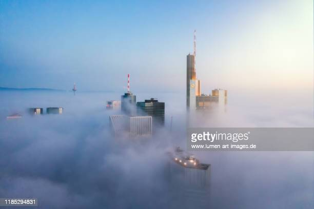 frankfurt am main - skyscrapers sticking out of the fog at sunrise - frankfurt am main stock-fotos und bilder