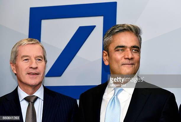 Frankfurt Anshu JAIN and Juergen Fitschen both ceo of Deutsche Bank AG at press briefing on annual results in Frankfurt