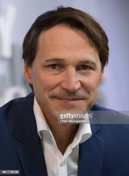 Frankfurt Book Fair 2017. Rolf Dobelli, Swiss writer, during an interview.