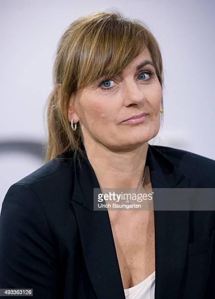 Frankfurt Book Fair Katja Gloger German journalist and writer during an interview with book launch