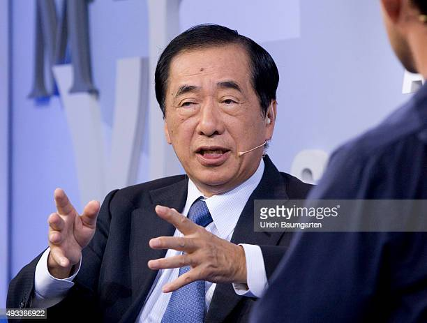 Frankfurt Book Fair Naoto Kan Japanese politician and writer during an interview with book launch