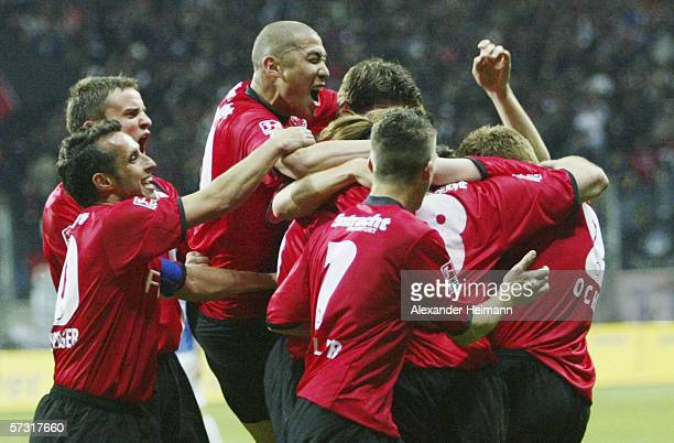 Frankfurt celebrates its 10 goal during the DFB German Cup semi final match between Eintracht Frankfurt and Arminia Bielefeld at the Commerzbank...