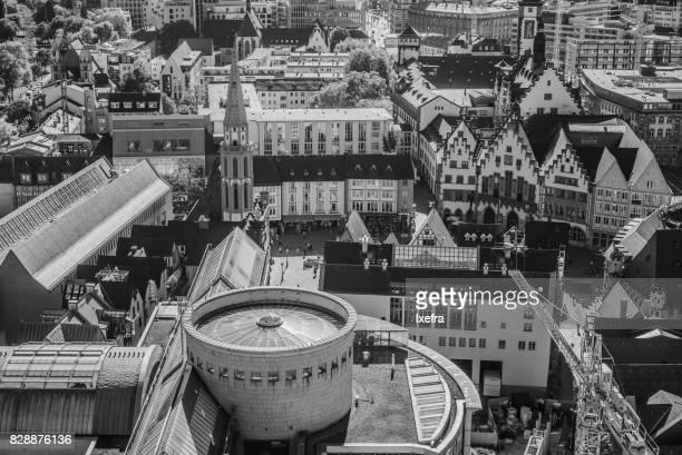 Frankfurt city centre from above.