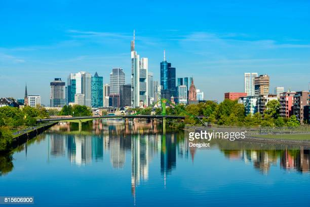 Frankfurt City skyline and Main river reflection on a clear day, Germany