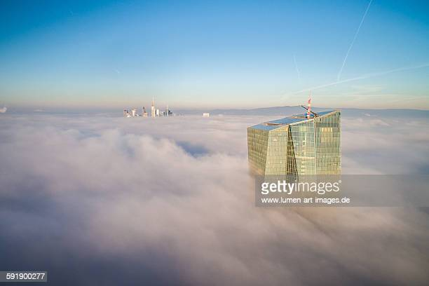 frankfurt - cloud city - european central bank stock pictures, royalty-free photos & images