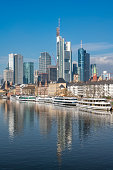 downtown river main with boats frankfurt