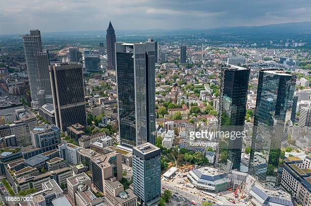 frankfurt downtown skyscrapers aerial photo - frankfurt main tower stock pictures, royalty-free photos & images