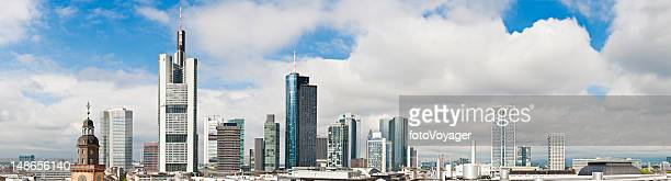 Frankfurt downtown skyscrapers banking towers commercial cityscape panorama Germany
