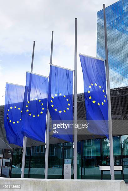 ecb frankfurt europäischen flaggen in half-mast - bombenanschlag stock-fotos und bilder