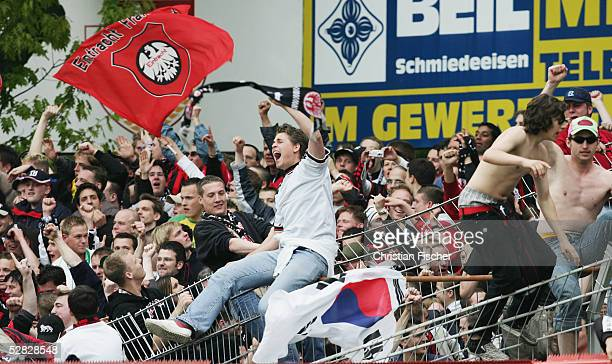Frankfurt fans celebrate victory after the 2 Second Bundesliga match between Energie Cottbus and Eintracht Frankfurt at the Stadion der Freundschaft...