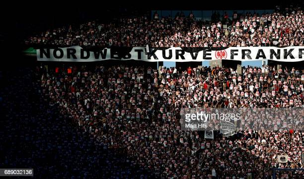 Frankfurt fans enjoy the atmosphere ahead of the DFB Cup final match between Eintracht Frankfurt and Borussia Dortmund at Olympiastadion on May 27...