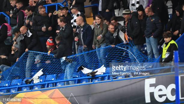 Frankfurt fans taken down netting in the stadium before the UEFA Europa League Semi Final Second Leg at Stamford Bridge London