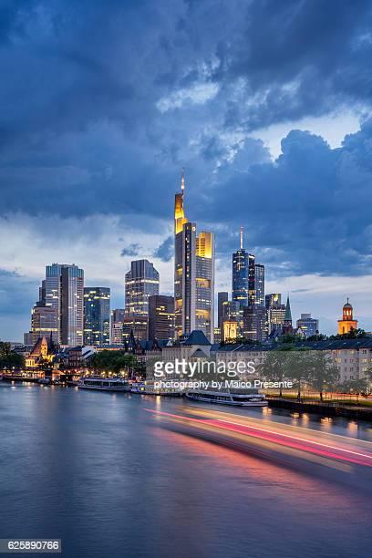frankfurt lights - frankfurt germany stock pictures, royalty-free photos & images
