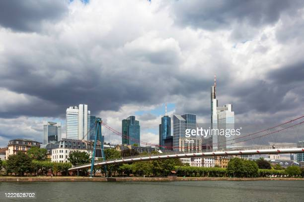 frankfurt/ main skyline with a bridge (hesse, germany) - great recession stock pictures, royalty-free photos & images