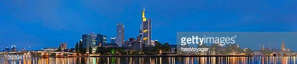 Frankfurt neon night cityscape spires skyscrapers illuminated super panorama Germany