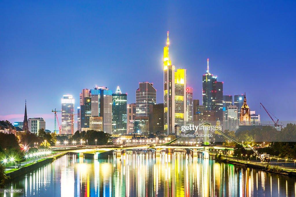 Frankfurt skyline and river at night, Germany : Stock Photo