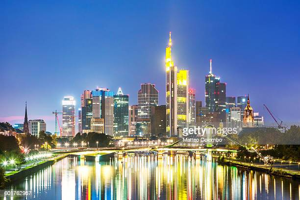 Frankfurt skyline and river at night, Germany