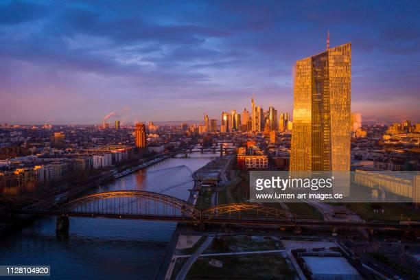 frankfurt skyline and the river main - sunrise aerial view - 欧州中央銀行 ストックフォトと画像