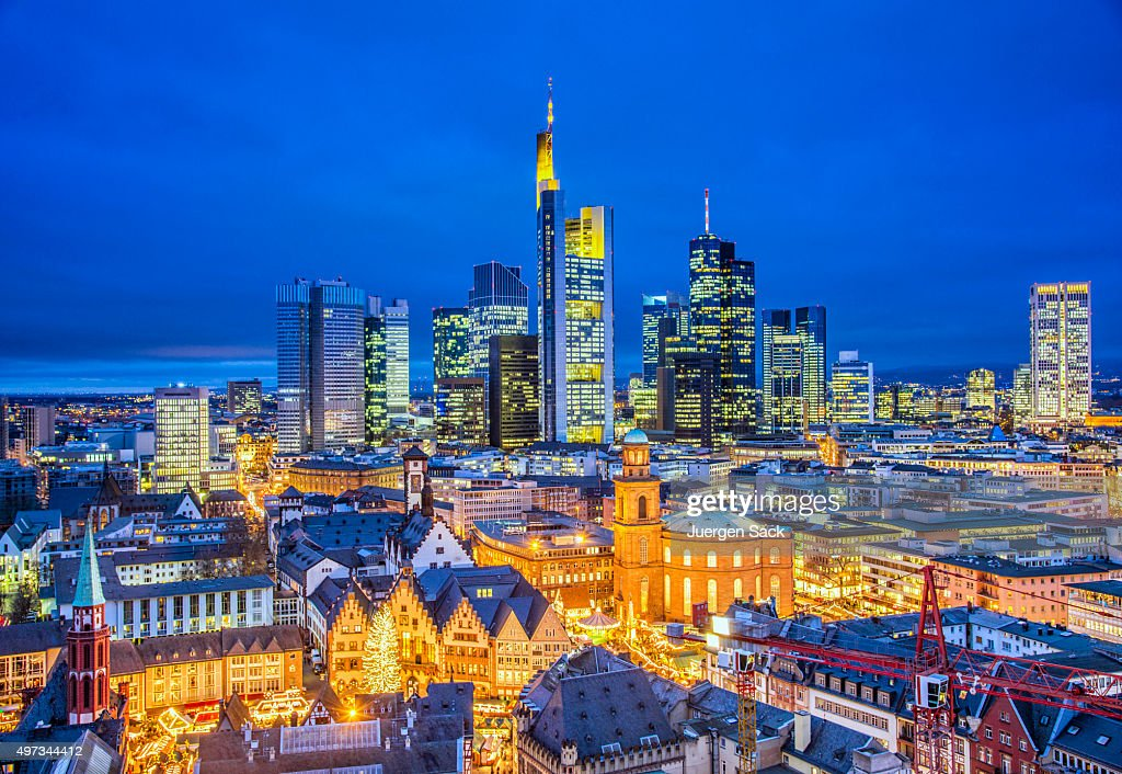 Frankfurt Skyline at Christmas Season : Stock Photo