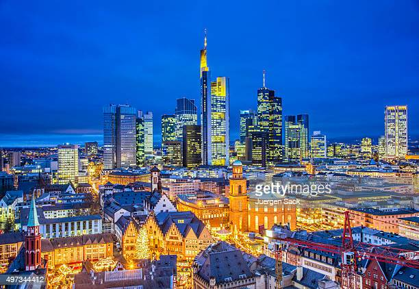frankfurt skyline at christmas season - frankfurt main stock pictures, royalty-free photos & images