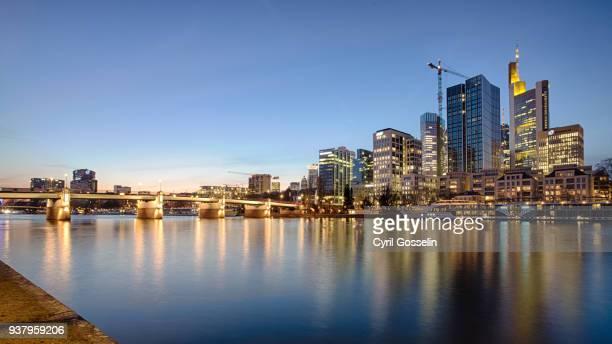Frankfurt skyline at twilight and river Main