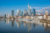architecture main river with boats frankfurt