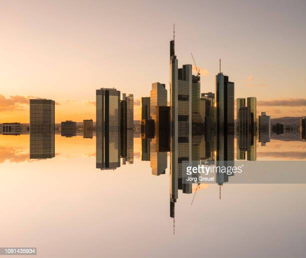 frankfurt skyline reflection - frankfurt main stock pictures, royalty-free photos & images