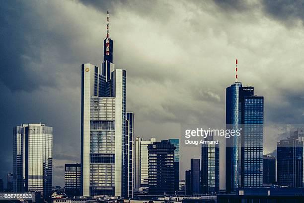 Frankfurt skyline under storym skies