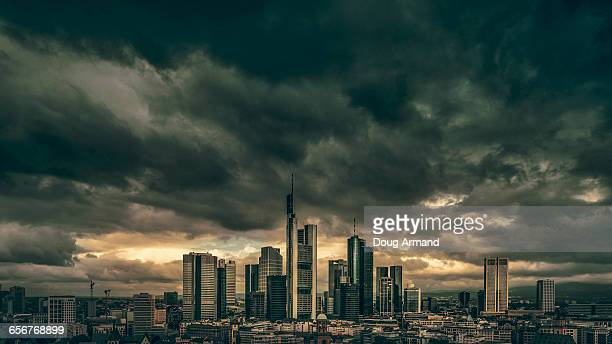 Frankfurt skyline under storym skies