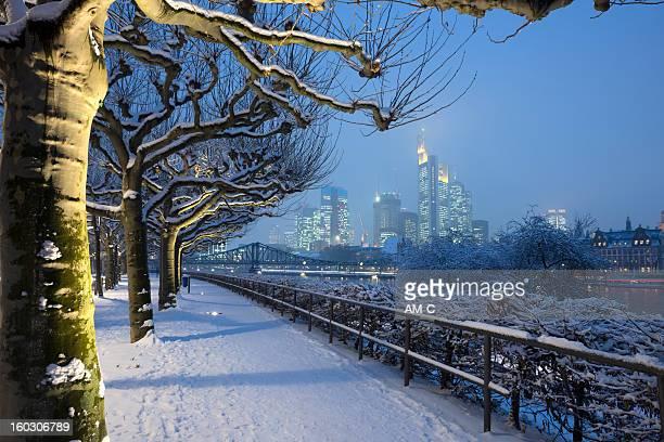 skyline von frankfurt, winter, deutschland, museumsufer - frankfurt stock-fotos und bilder