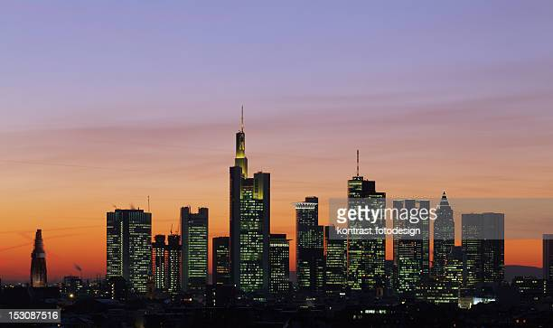 frankfurt skyline with orange and purple sky  - frankfurt main stock pictures, royalty-free photos & images