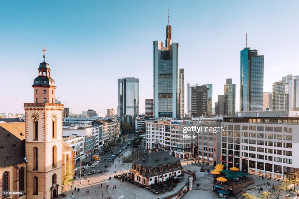 Frankfurt Skyline with St. Catherines Church, Hauptwache and financial district : Stock Photo