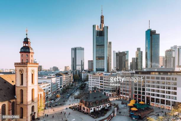 frankfurt skyline with st. catherines church, hauptwache and financial district - frankfurt stock pictures, royalty-free photos & images