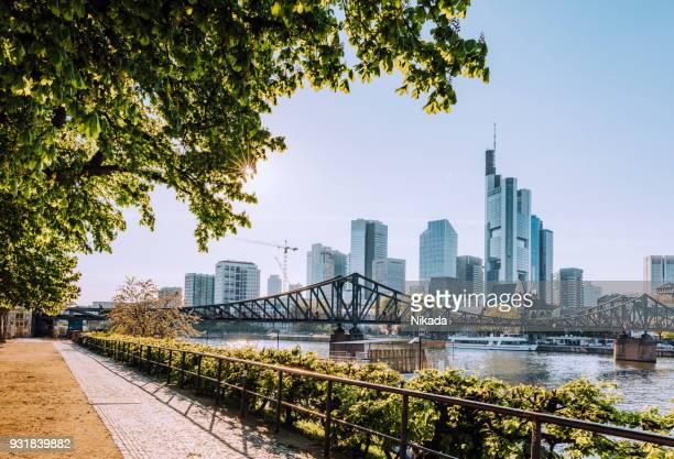 frankfurter skyline mit sonne - flussufer stock-fotos und bilder