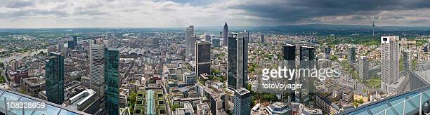 frankfurt skyscrapers downtown city finance towers banks messe panorama germany - frankfurt main tower stock pictures, royalty-free photos & images