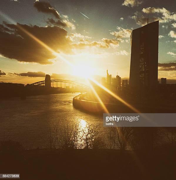 Frankfurt sunset skyline