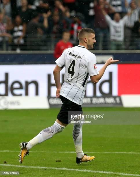 Frankfurt's Ante Rebic celebrates his 10 during the German Bundesliga match between Eintrach Frankfurt and VfBStuttgart in Frankfurt Germany 30...