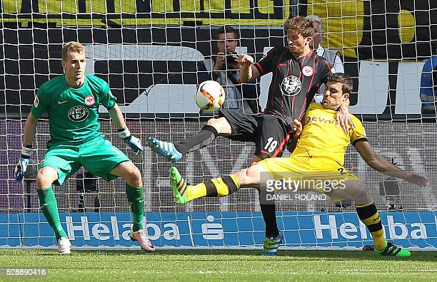 Frankfurt's Argentinian defender David Abraham and Dortmund's Greek defender Sokratis vie for the ball during the German first division Bundesliga...