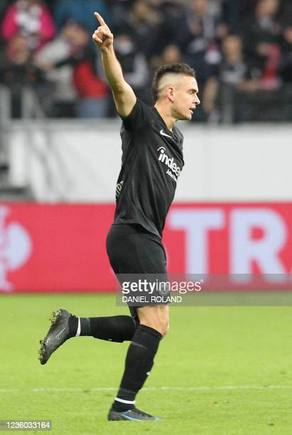 Frankfurt's Colombian forward Rafael Borre celebrates scoring the opening goal from the penalty spot during the UEFA Europa League group D football...