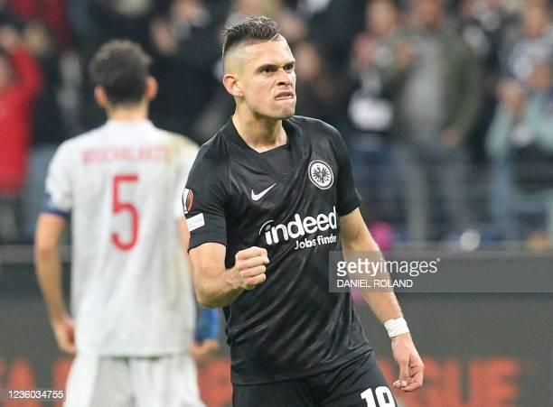 Frankfurt's Colombian forward Rafael Borre reacts at the final whistle of the UEFA Europa League group D football match between Eintracht Frankfurt...