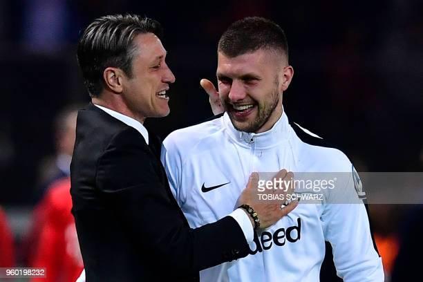 Frankfurt's Croatian head coach Niko Kovac celebrates with Frankfurt's Croatian forward Ante Rebic during the German Cup DFB Pokal final football...