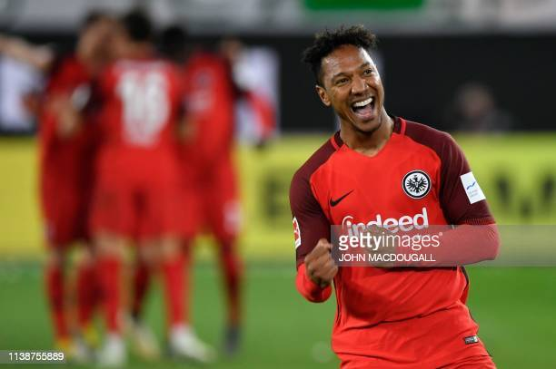 Frankfurt's Dutch midfielder Jonathan de Guzman celebrates scoring the opening goal during the German first division Bundesliga football match VfL...
