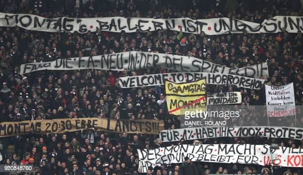 Fans protest against scheduling football games on mondays during the German First division Bundesliga football match Eintracht Frankfurt vs RB...