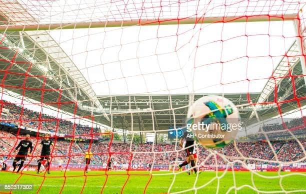 Frankfurt´s Finnish goalkeeper Lukas Hradecky fails to save the second goal by Leipzig´s forward Timo Werner during the German dirst division...