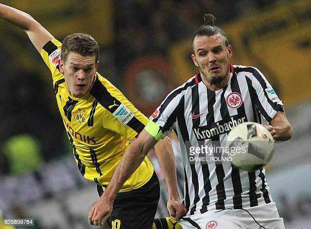 Frankfurt's forward Alexander Meier and Dortmund's defender Matthias Ginter vie for the ball during the German first division Bundesliga football...