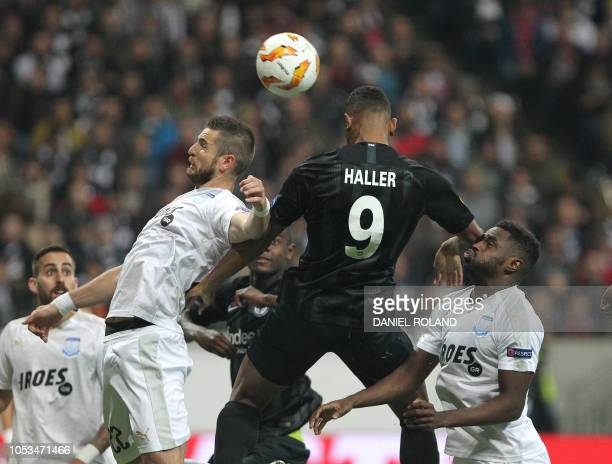 Frankfurt's French forward Sebastien Haller and Apollon Limassol's French defender Valentin Roberge vie for the ball during the UEFA Europe League...
