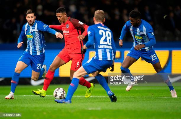 Frankfurt´s French forward Sebastien Haller Berlin´s defender Marvin Plattenhardt midfielder Fabian Lustenberger and defender Jordan Torunarigha vie...