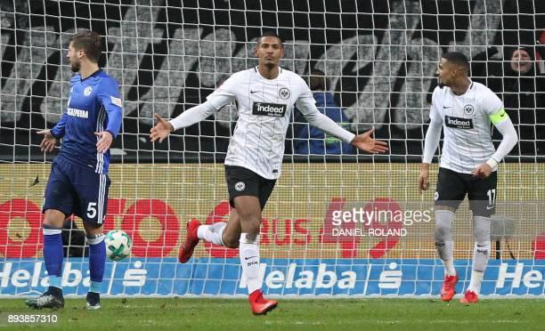 Frankfurt's French forward Sebastien Haller celebrates scoring the 20 during the German first division Bundesliga football match between FC Schalke...