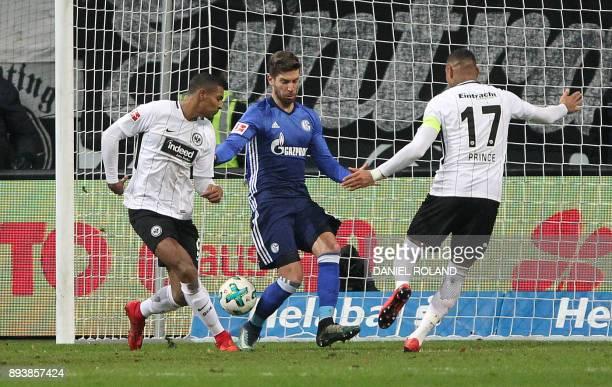 Frankfurt's French forward Sebastien Haller scores 20 during the German first division Bundesliga football match between FC Schalke 04 and Eintracht...