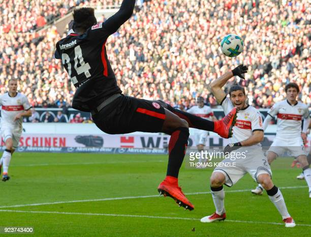 Frankfurt's German defender Danny da Costa and Stuttgart's Argentinian defender Emiliano Insua vie for the ball during the German first division...